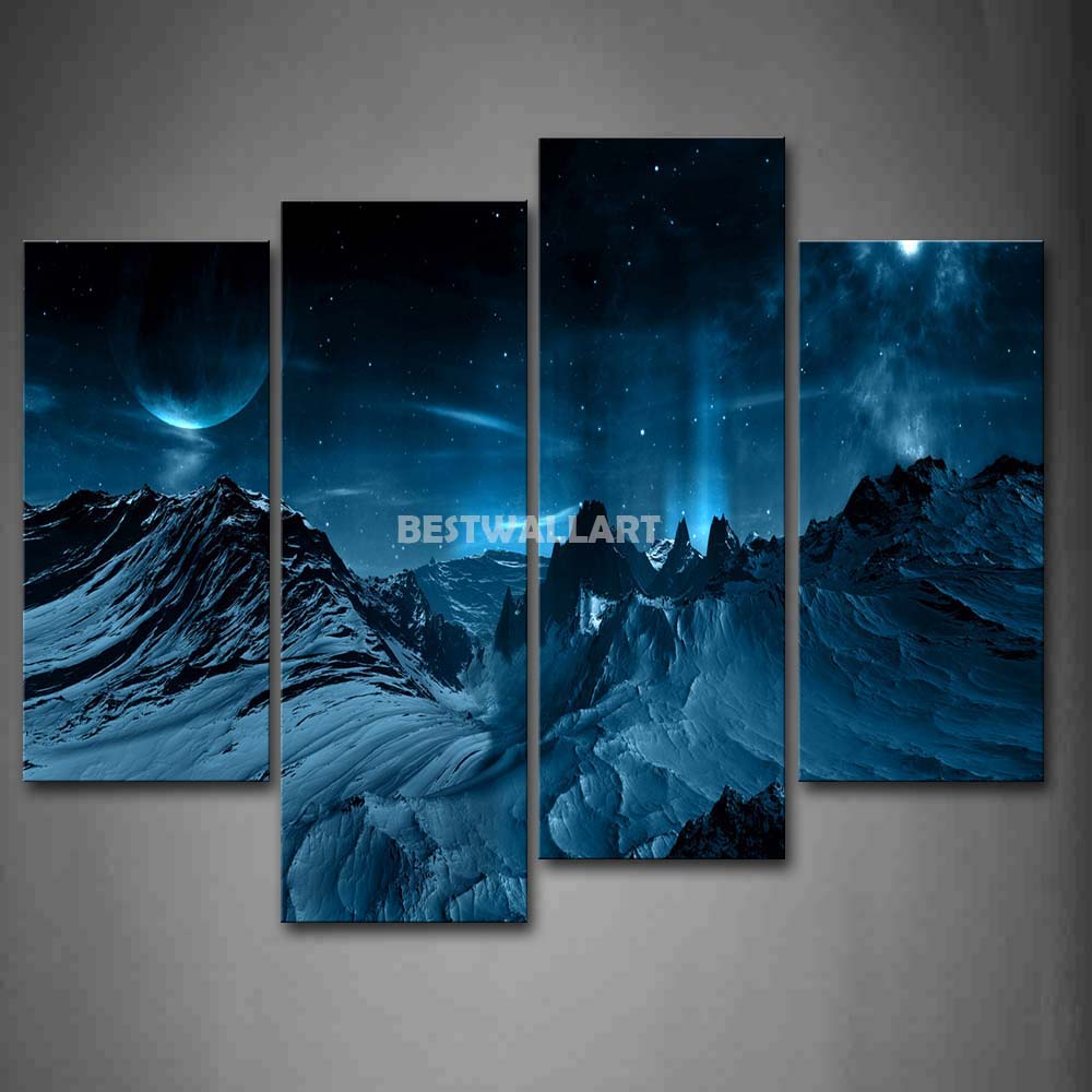 many stars and gills 4 piece painting on canvas wall art. Black Bedroom Furniture Sets. Home Design Ideas