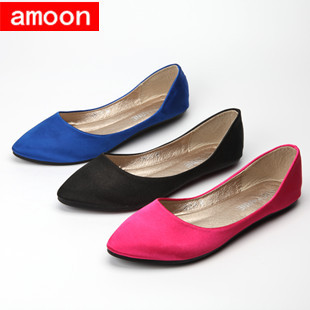 Amoon / Women Girl 2015 New Summer Autumn Rubber Simple Silk Pointed Toe PU Ballet Flat 263#6/ 3 Colors/ 7 Plus 41 Size - ^^ Flats and More store