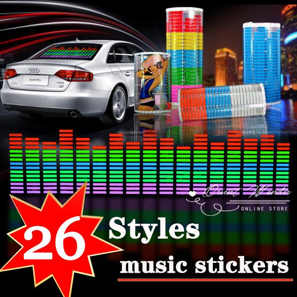 26 design Sound Rhythm Music Activated EL Equalizer Car decration Sticker Glow Flash Panel Multi Designs LED car music light(China (Mainland))