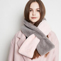 2016 Women Winter Scarf Double Color Cashmere Ring Loop scarf for Female Wool Cross Fluffy Patchwork