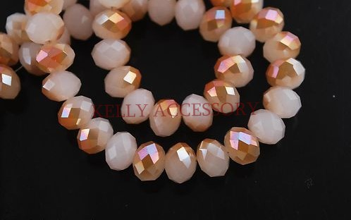 Free Shipping 2850Pcs Faceted Glass Crystal Spacer Beads Charms 8mm White Jade With Wine Red For Jewelry Making Craft DIY<br>