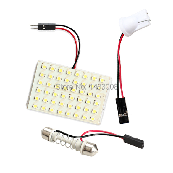 48 LED Auto Car Dome Festoon Interior Bulb Roof Light Lamp with T10 Adapter Festoon Base