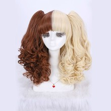 45cm discount brown/blonde multi color lolita cosplay long wavy wig hair with fluffy clip animation cosplay wig Free Shipping-99(China (Mainland))