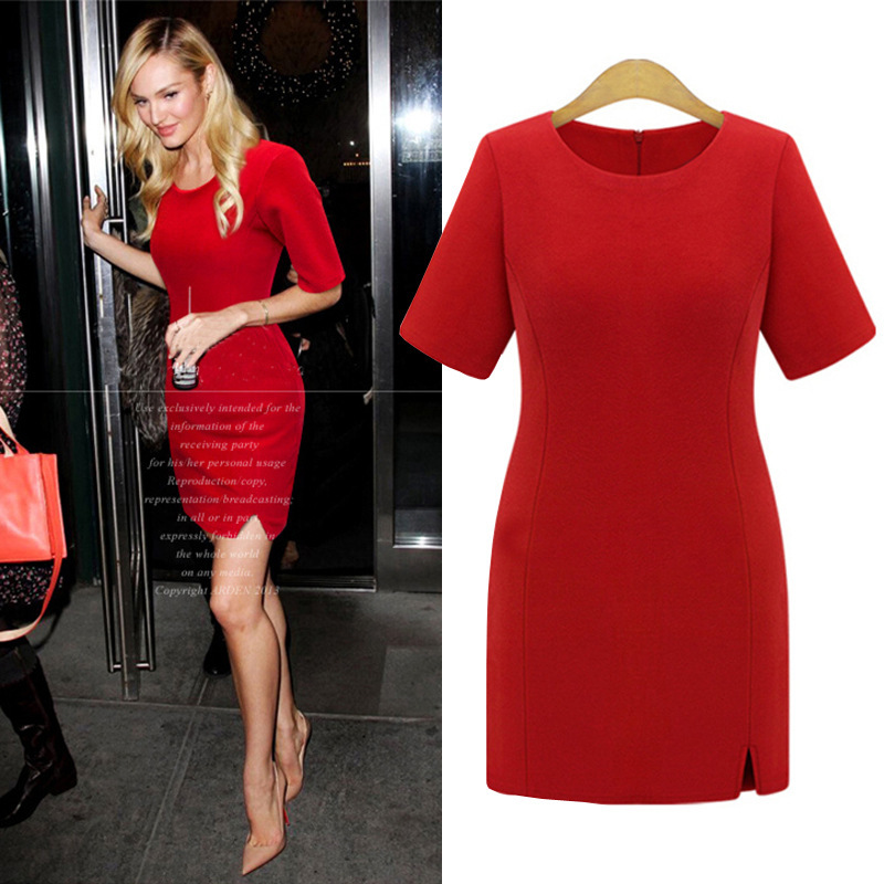 Europe in the spring of 2016 new European high-end large size women T-shirt five sleeve slim dress