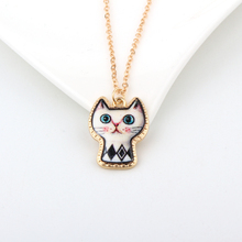 Buy 1PC Cute Cartoon Cat Animal Link Chain Necklace Gold Color Enamel Chains Necklaces Women Jewelry Child Christmas Gift for $1.19 in AliExpress store