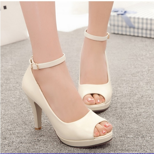 2015 New Arrivals Fashion Thin High Buckle Strap Summer Dress Shoes For Women Sexy Casual Peep Toe Summer Platform Pumps <br><br>Aliexpress