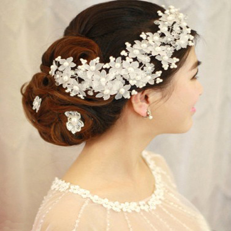Crystal Pearl Beads barrettes Bridal frosted flower Wedding Hairwear Crown Bride Jewelry Accessories Party Decoration(China (Mainland))