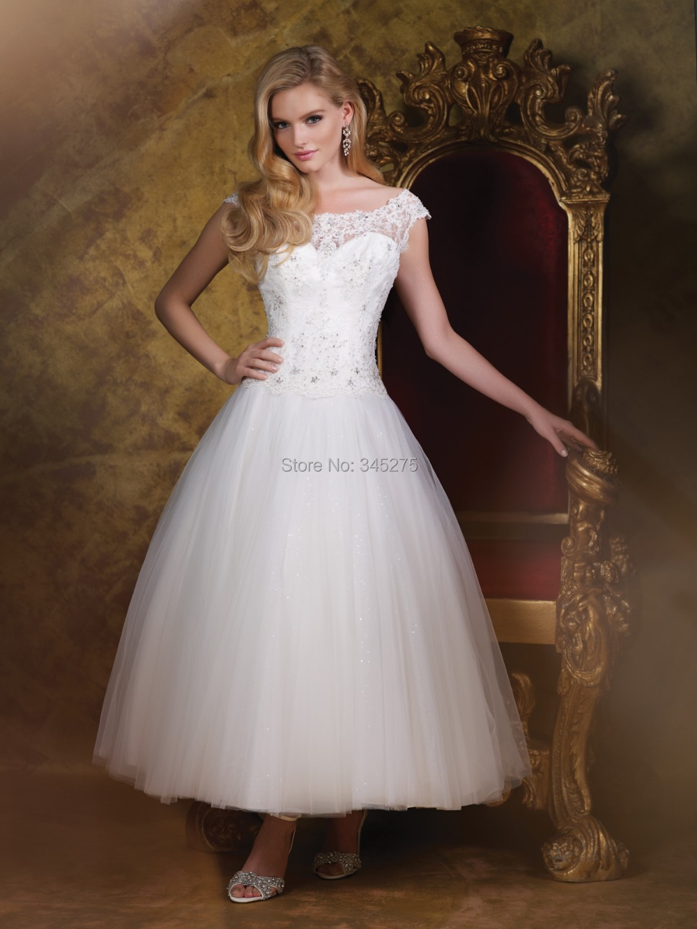Illusion Lace Cap Sleeves Tea Length V Back 2015 Tulle