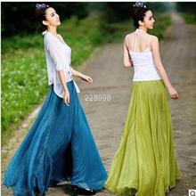 Hot Sale 2016 New Fashion Bohemian length  For Women,Simple Beautiful floor Skirts for women summer chiffon skirts ladies skirts