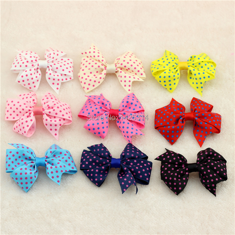 Kid Hair Accessories Little Polka Dot Ribbon Hair Bows Candy Colors Children Hair clip Hairpin Princess Butterfly headwear 18pc(China (Mainland))