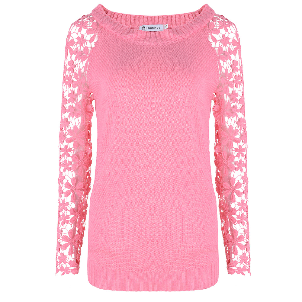 Hot sale 2016 Spring Autumn Fashion Sweaters Women Long Sleeve Lace Patchwork Casual Pullover Ladies Sweaters Plus Size S-5XL(China (Mainland))