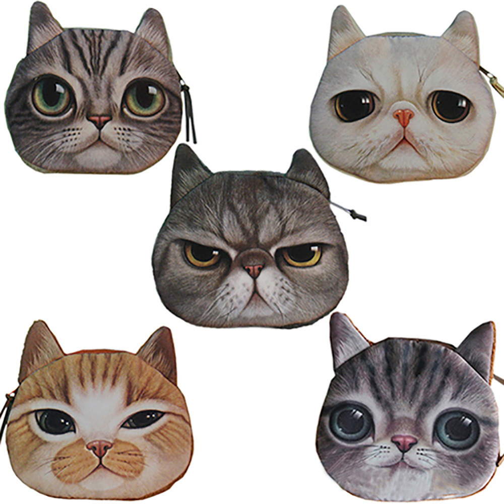 Гаджет  New Cute Cat Face Zipper Case Coin Purse Wallet Makeup Buggy Bag Pouch 5 Style 1pcs Free Shipping BB47 None Камера и Сумки