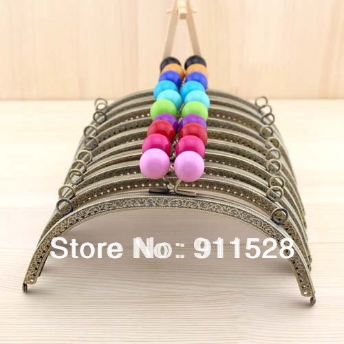 10 pieces/lot 20.5cm Embossed Bronze Metal Handbag Frame Candy Ball Bag Frame High Quality Nana Fabrics Accessory N1061