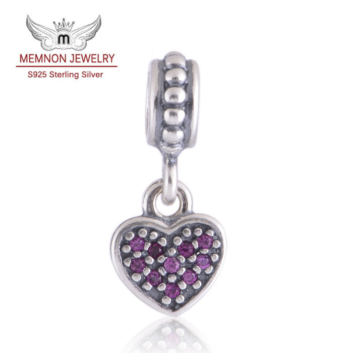 Pave Hanging Heart Dangle Charms 925 Sterling Silver beads Fit European style Bracelets Bangles DIY Making Memnon Jewelry LW173<br><br>Aliexpress