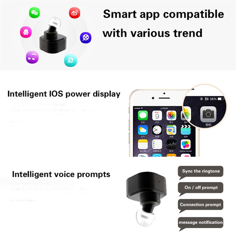 Original New Twins Bluetooth Earphone Wireless Earphones In-ear Mini Stereo Earphones with Recharge Box for iPhone 7 xiaomi