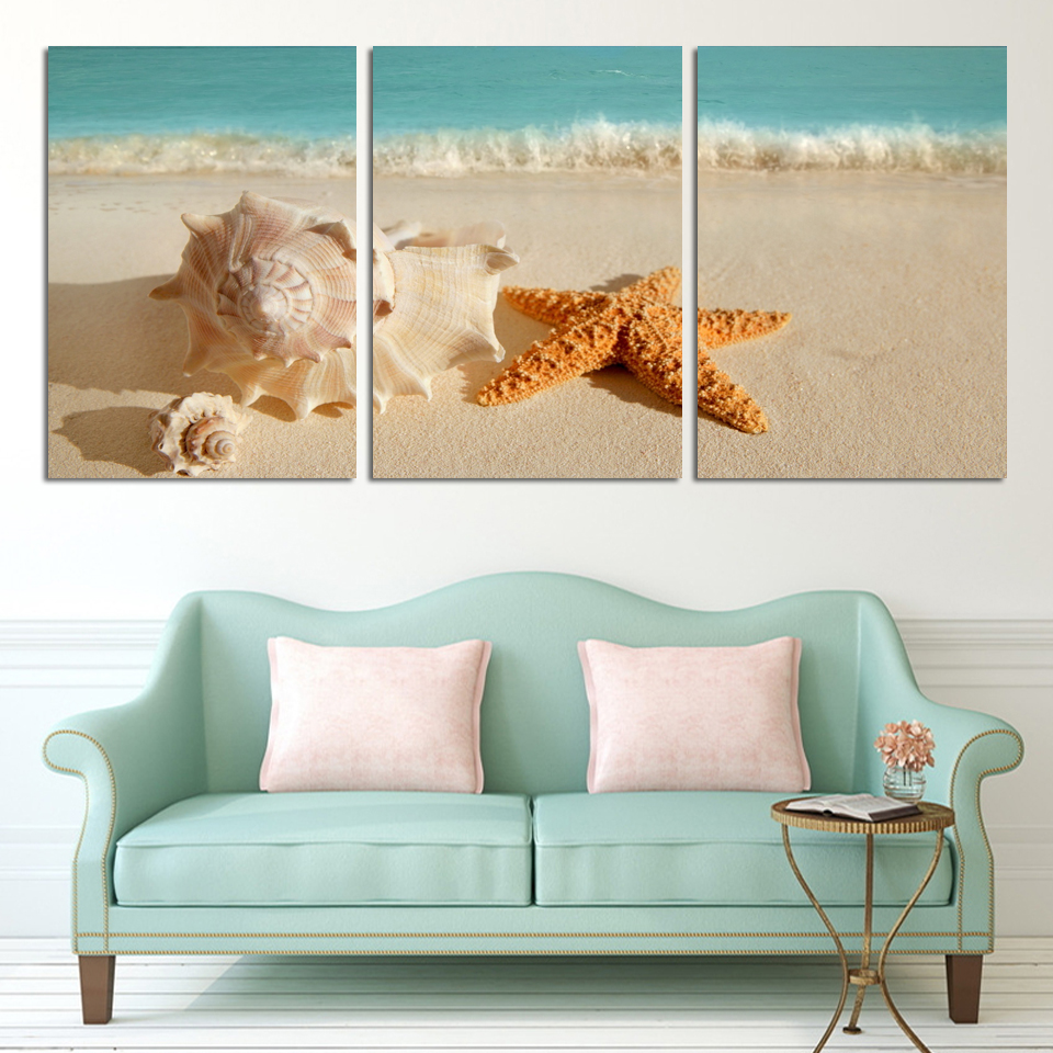3 Panel Modern Printed Blue Beach Seascapes Paintings Wall Art Home Decor Shell Sea Paintings For Living Room(No Frame)(China (Mainland))