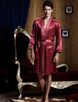 Полный рукав мужчины робы V шея тёмный красный вышивка ночь платье эмуляции шелк ...
