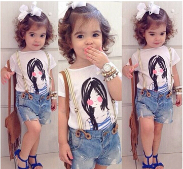 2015 summer clothing for girls denim shorts+t-shirts 2 pieces set casual beach suits children girls clothing sets(China (Mainland))