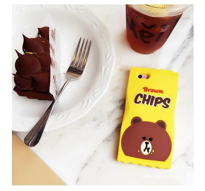 New Cute 3D Soft Silicon Case Chips Bear Hamburger Bear For iPhone se 5 5s 6 6s plus 4.7 5.5 lovers rubber cover