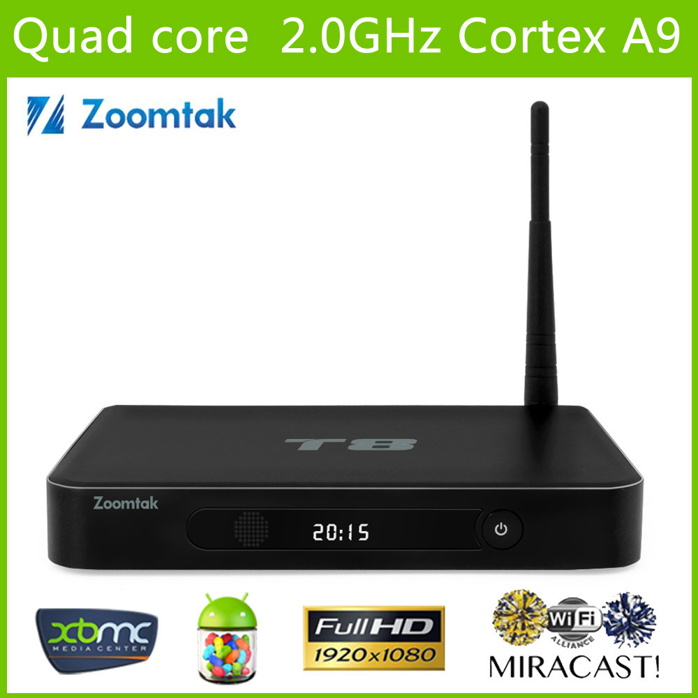 Android Media Player Zoomtak T8 quad core android tv box full loaded XBMC 4K android play app store download free tv box(China (Mainland))