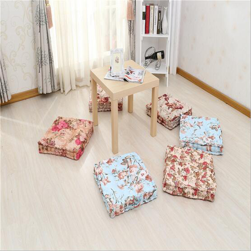 almofada coussin 1pc 45*45cm Square Shape Plaid Chair Pad Cushion Thicker Soft Washable Cotton Floral Home Decor Floor Mat#S843(China (Mainland))