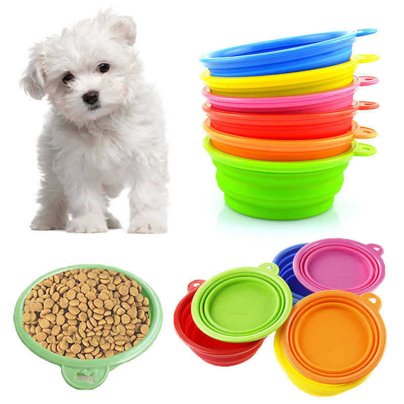 1pc Silicone Dog Feed Dish Portable Collapsible Travel Feeding Bowl Water Dish 2 Size Feeder Pet Products(China (Mainland))
