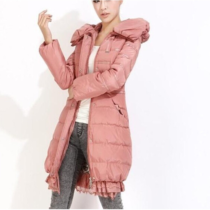 Фотография New Winter Jacket Women Lace Flounced Long Female Outerwear Plus Size Hooded Down Cotton Jacket Casual Coat Parkas C1112