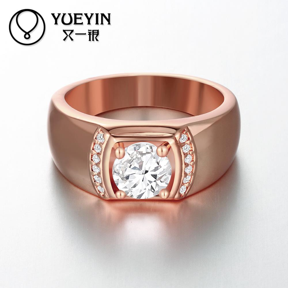 R125-B-8 New Band Couples Wedding Bands Nickel Free Men Ring Fine Jewelry 18k gold Plated Zircon Ring bijoux anillos Best Gift(China (Mainland))