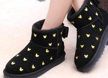2016 winter new short tube card tube snow boots female bow sweet warm leather shoes(China (Mainland))