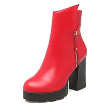 Bonjomarisa 2020 Thu Đông Big Size 33-43 Thời Trang Nữ Màu Đen Nền Tảng Mắt Cá Chân Giày 10 Cm Giày Cao Gót Khóa Kéo bộ Lông Giày Người Phụ Nữ(China)