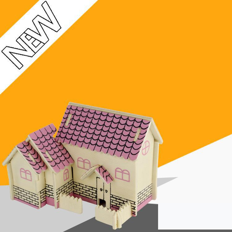 3D Puzzle Jigsaw Wooden Building Simulation Model Manufacturer Wholesale Adult Children Intelligence 3d House(China (Mainland))