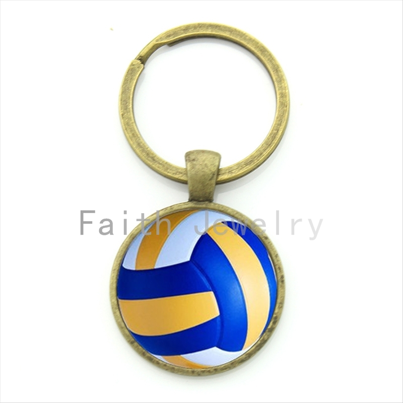 Leisure accessories beach volleyball key chain charm volleyball picture print round glass alloy keychain ball fans gift KC255(China (Mainland))