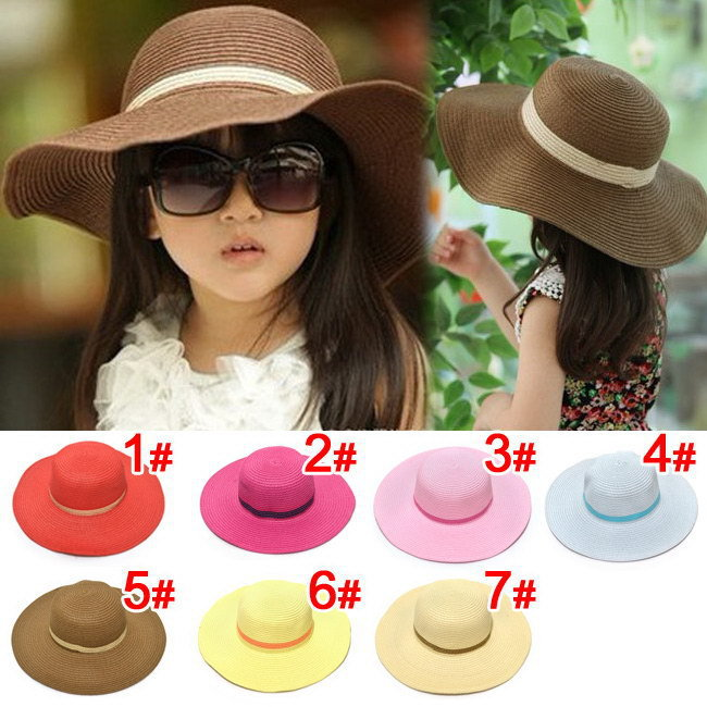 2015 spring children's Straw hat Flower girl cap Baby girl summer hat Girl sun hat Beach visor hat(China (Mainland))
