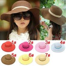 2015 spring children's Straw hat Flower girl cap Baby girl summer hat Girl sun hat Beach visor hat(China (Mainland))