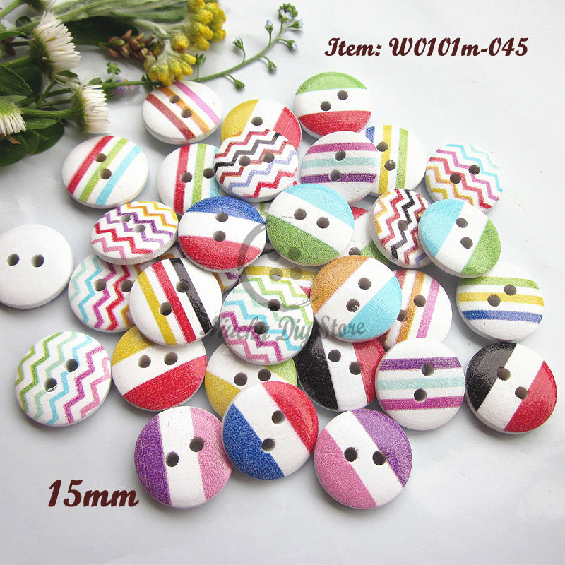 Sewing buttons 100pcs 15mm mixed wood buttons for scrapbooking crafts decorative sewing accessories wholesale(China (Mainland))