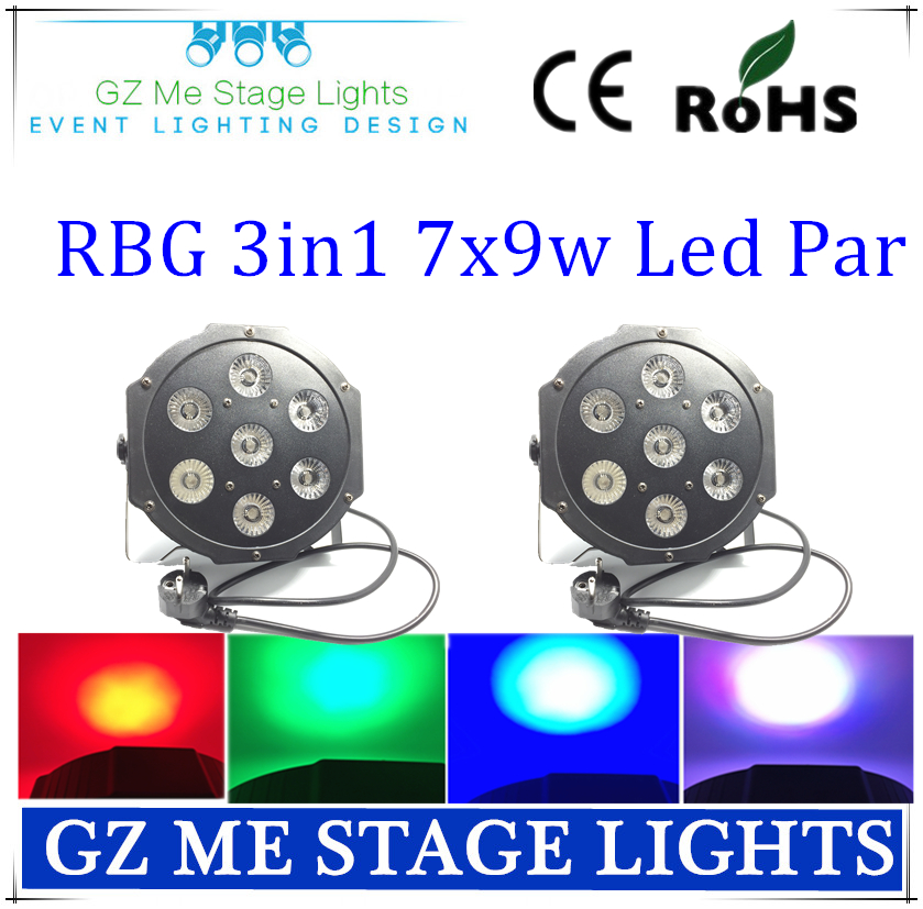 Asian Free Shipping 2Pcs  7X9W RGB 3In1 DMX Stage Lights Business Lights Led Flat Par High Power Light with Professional <br><br>Aliexpress