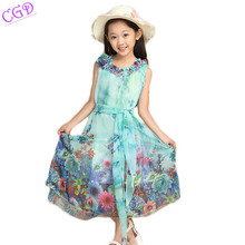 2016 Children's Clothing Kids Dresses Baby Girls Fashion Beach Dresses Girl Summer Sleeveless Flower Bohemian Chiffon Long Dress