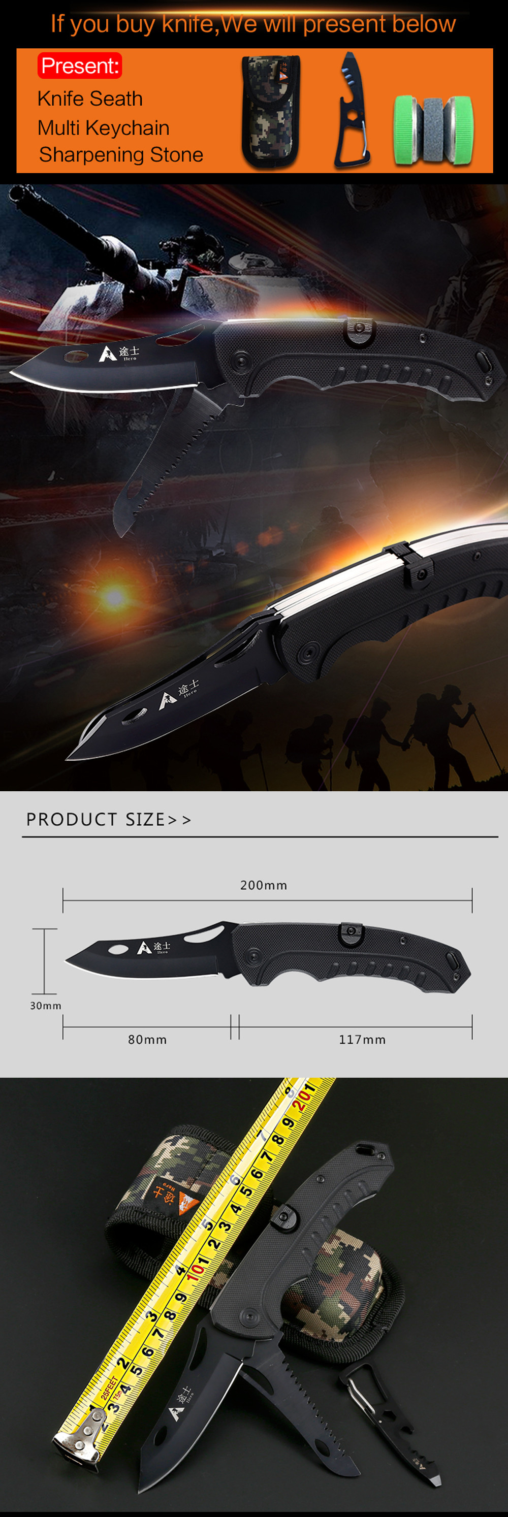 Buy Free Shipping High Quality G10 handled pocket camping survival knives hunting folding knife rescue tools hands 2pcs blade cheap