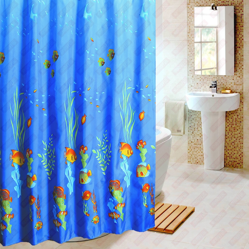Blue fish modern shower curtain waterproof fabric curtain for Space curtain fabric