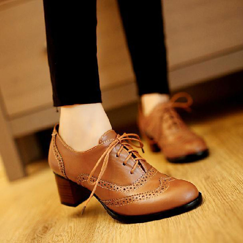 autumn vintage oxford shoes for women black pointed toe ...