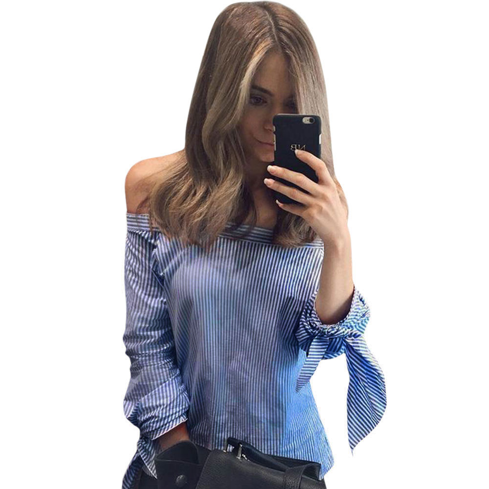2016 New Lattice Strip Shirt Bow Long Sleeve Slash-Neck Sexy Off The Shoulder Blouse Summer Loose Tops Plus Size(China (Mainland))