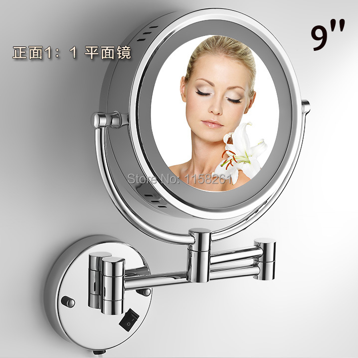 """Free Shipping 9""""Wall Mounted Round 3x / 1x Magnifying Bathroom Mirror LED Makeup Cosmetic Mirror lady's private mirror HSY-2068(China (Mainland))"""