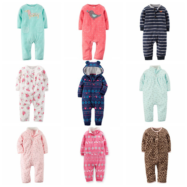 Ребенка ползунки С Длинным рукавом комбинезон флис детские пижамы малыша новорожденных девочек одежда детей костюм девочек дизайнер одежды
