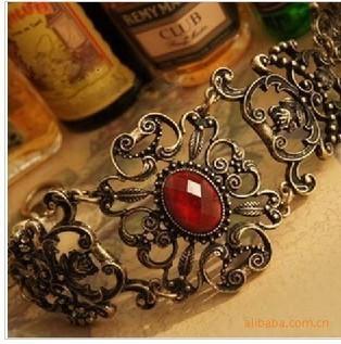 Retro Vintage Red Rhinestone Palace Vine Flower Alloy Bracelets Bangles Antique Bracelet 007