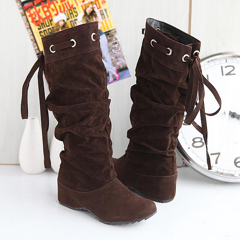 Hot! 2015 Size 34~43 bowknot Suede High Heels Women wedge Boots Ladies Shoes Woman Bottes Femme Chaussure Botas Mujer Femininas<br><br>Aliexpress