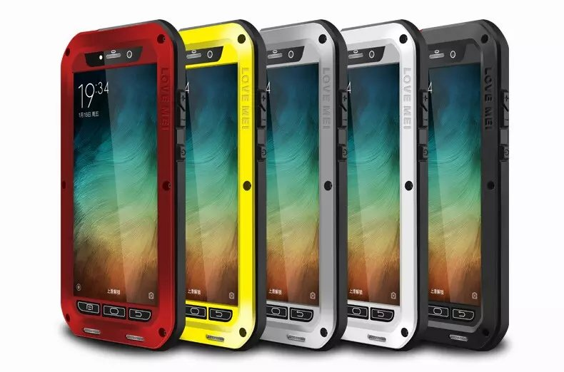 Love Mei Brand Powerful Waterproof Shockproof Metal Case For Xiaomi Note Aluminum Case Cover + Tempered Glass(China (Mainland))