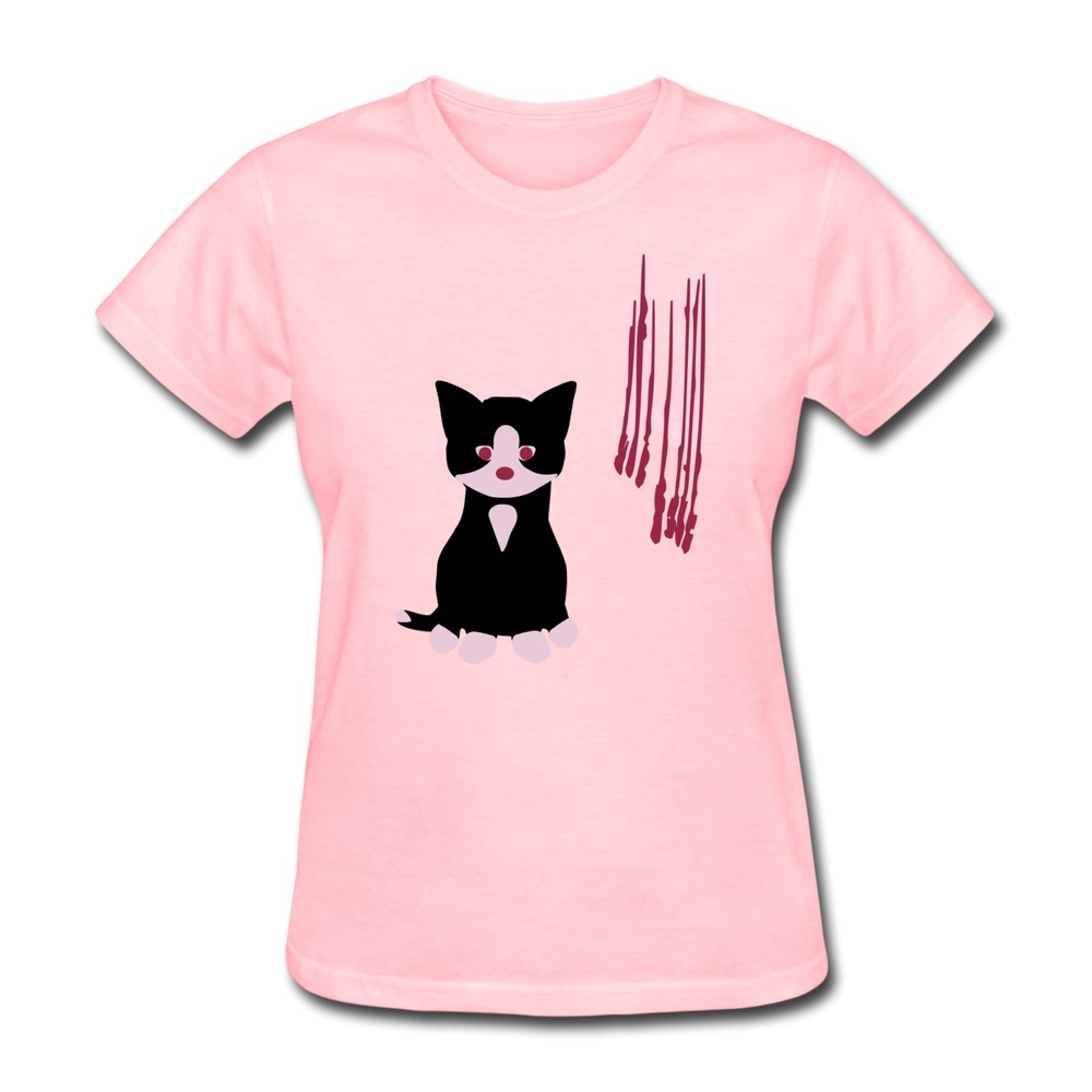 Womans Tshirt Short Sleeve Little Bad Cat Design Women T