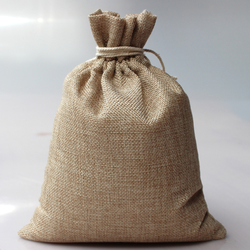 10pcs/lot 15X20cm handmade jute drawstring pouch gift jute bag for storage wedding jewel accessories recycle bag(China (Mainland))