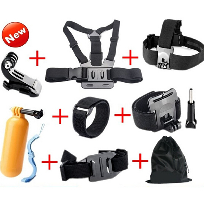 Black friday Go Pro Accessories set Chest Strap+Head Strap+Wrist Strap+gopro mount Outdoor Sports Kit  for Gopro Hero 4 3+ 3 2
