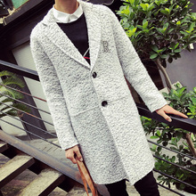 New Spring Fashion X-long Coat Men Solid Letter Print Wool Long Trench Coat Loose Casual Woolen Pea Coat Outdoor Overcoat Gray(China (Mainland))